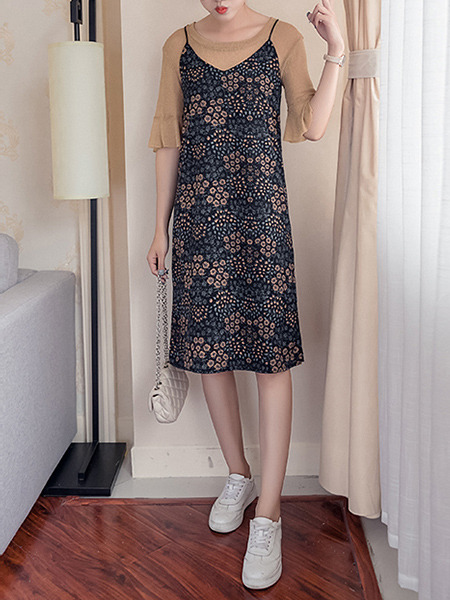 Beige Colorful Knee Length Printed Knitted Two-Piece Flare Sleeve Plus Size Dress for Casual