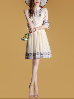 Beige Above Knee Chiffon Stand Collar Embroidery A-Line Slim Plus Size Dress for Office Evening Party