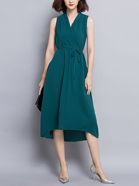 Green Midi Knitted V Neck Slim Asymmetrical Hem Lace up Plus Size Dress for Office Party Evening