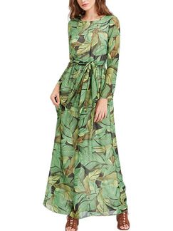 Green Maxi Long Sleeve Full Skirt Printed Plus Size Lace up Petite Dress for Party Evening