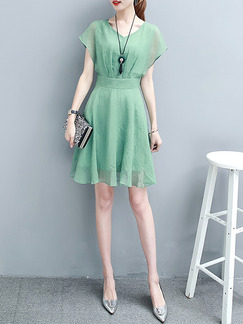Green Above Knee A-Line Slim Chiffon Plus Size V Neck Dress for Casual Office Party Evening