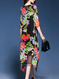 Black Colorful Printed Asymmetrical Hem Full Skirt Plus Size Floral Dress for Party Evening