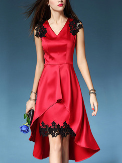 Red V Neck Linking Lace Slim Plus Size Asymmetrical Hem Satin Above Knee Dress for Casual Evening Party