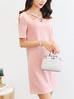 Pink Slim Cutout Plus Size Cutout Neck Cute Above Knee Dress for Casual Party