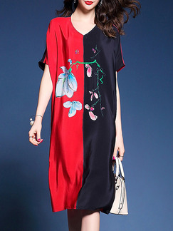 Red and Black Loose Contrast Linking Printed Chinese Plus Size Midi V Neck Dress for Casual Party
