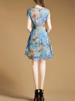 Blue Colorful Chinese Printed Chinese Button Plus Size Two-Layered Furcal Slim A-Line Floral Above Knee Dress for Casual Party