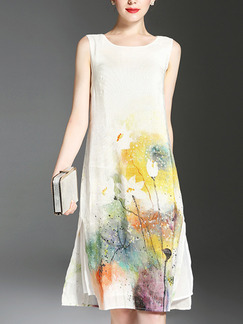 White Colorful Located Printing Loose Furcal Chinese Plus Size Knee Length Floral Dress for Casual