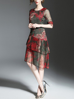 Red Slim Printed Plus Size Two-Layered Knee Length Dress for Casual Party Evening