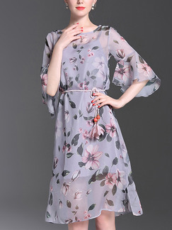 Blue A-Line Flare Sleeve Loose Furcal Chiffon Plus Size Floral Knee Length Dress for Casual Party Evening