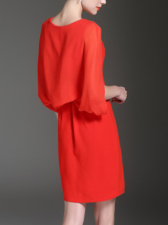 Red Slim Caped Sheath Above Knee Plus Size Dress for Casual Office Evening