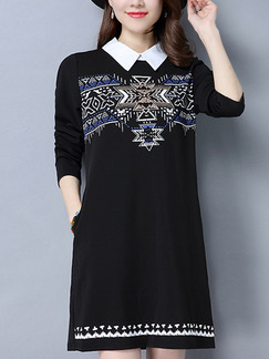 Black Knitted Contrast Linking Located Printing Plus Size Above Knee Shirt Long Sleeve Dress for Casual Office