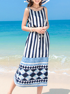 Blue and White Drawstring Stripe Printed  Slip Plus Size Dress for Casual Beach