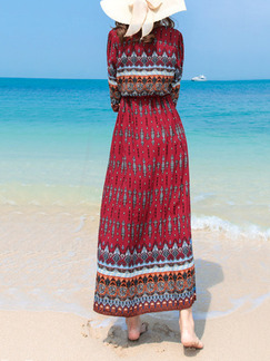 Red A-Line Drawstring Furcal V Neck Printed Buckled Maxi Dress for Casual Beach