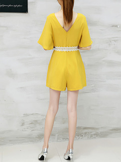 Yellow Jumpsuit Lace V Neck Band Belt Plus Size Cute Jumpsuit for Casual Party