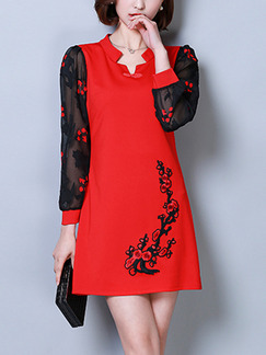 Red and Black Burnt-Out Linking Chinese Button Embroidery Above Knee Plus Size Long Sleeve Dress for Casual Party Evening