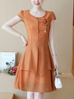 Brown Slim A-Line Two-Layered Buckled Plus Size Knee Length Dress for Casual Party Evening