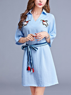 Blue V Neck Band Belt Embroidery Plus Size Loose Shirt Above Knee Dress for Casual Party