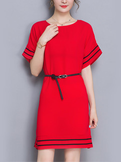 Red Loose Bat Contrast Plus Size Above Knee Dress for Casual Office