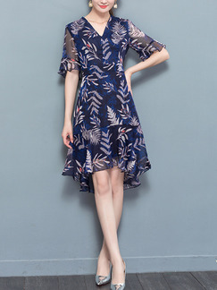 Blue Colorful Printed Ruffled V Neck Slim A-Line Chiffon Asymmetrical Hem Knee Length Plus Size Dress for Casual Party Evening