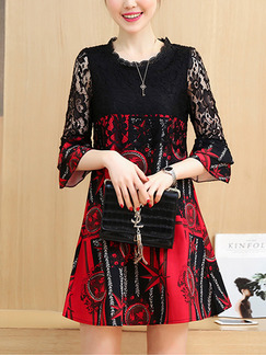 Black and Red Plus Size A-Line Loose Lace Linking Above Knee Dress for Casual Party Evening