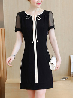 Black Contrast Linking Band Belt Plus Size Slim Chiffon Above Knee Dress for Casual Office Evening