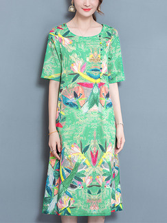 Green Colorful Plus Size Loose Printed Buckled Midi Dress for Casual