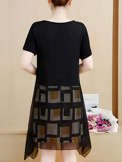 Black and Brown Chiffon Plus Size Linking Printed Asymmetrical Hem Above Knee Dress for Casual Party