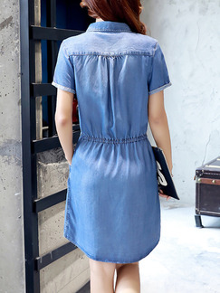 Blue Shirt Denim Drawstring Plus Size Above Knee Dress for Casual Party