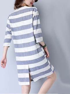Grey and White Stripe Shirt Stripe Loose Plus Size Above Knee Dress for Casual