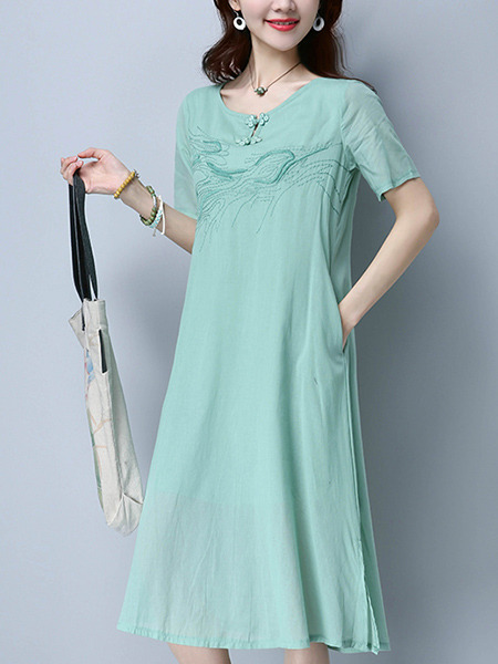 Green Chinese Loose Embroidery Chinese Button Plus Size Midi Shift Dress for Casual