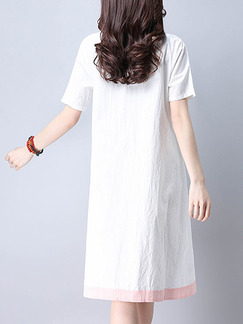 White Chinese Located Printing Asymmetrical Hem Contrast Linking  Knee Length Plus Size Shift Dress for Casual