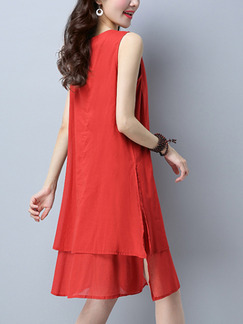 Red Chinese Loose Embroidery Furcal Chinese Button Shift Knee Length Dress for Casual Party