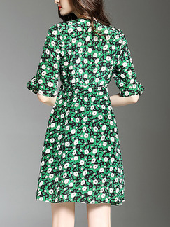 Green Chiffon Slim A-Line Printed Furcal Ruffled V Neck Floral Above Knee Plus Size Dress for Casual Evening Party