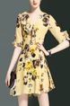 Yellow Colorful Chiffon Slim A-Line Printed Furcal Ruffled V Neck Floral Above Knee Plus Size Dress for Casual Evening Party