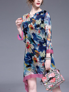 Colorful V Neck Slim Printed Asymmetrical Hem Linking Contrast Above Knee Plus Size Floral Long Sleeve Dress for Casual Party Evening