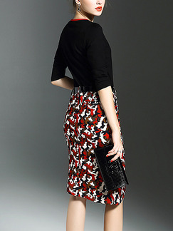 Black and Red Knitted Contrast Linking Slim Plus Size Printed Furcal Knee Length V Neck Dress for Casual Office Evening