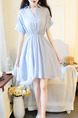 Blue A-Line V Neck Adjustable Waist Laced Linking Flare Above Knee Dress for Casual Party