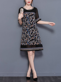 Black Colorful Chiffon Loose Tassels Printed Linking Above Knee Plus Size Dress for Casual Party Evening
