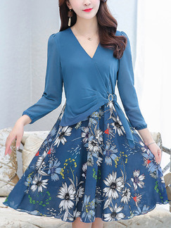 Blue Colorful Slim A-Line Plus Size Seem-Two Contrast Linking V Neck Printed Floral Above Knee Flare Dress for Casual Party Evening
