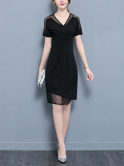 Black Slim Mesh Plus Size V Neck Asymmetrical Hem Knee Length Dress for Casual Party Evening Office