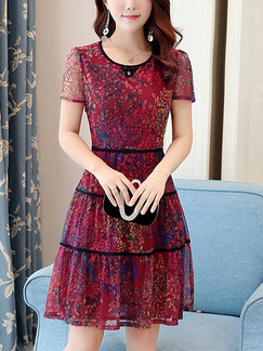Red Slim Plus Size Mesh Printed Chinese Button Knee Length Flare Dress for Casual Party
