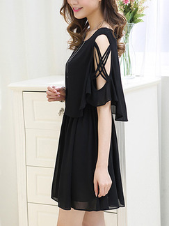 Black Chiffon Seem-Two Adjustable Waist Off-Shoulder Bat A-Line Above Knee Plus Size Dress for Casual Office Party