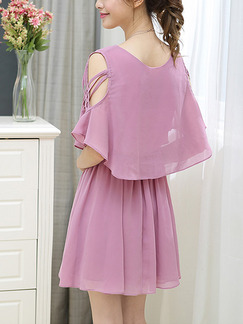 Pink Chiffon Seem-Two Adjustable Waist Off-Shoulder Bat A-Line Above Knee Cute Plus Size Dress for Casual Office Party