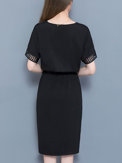 Black Plus Size Furcal Cutout Band Belt Knee Length Dress for Casual Office