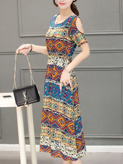 Colorful Plus Size Off-Shoulder Adjustable Waist Printed Midi Dress for Casual
