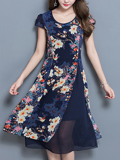 Blue Colorful Chinese Plus Size A-Line Chinese Button Printed Furcal Midi Floral Dress for Casual Party