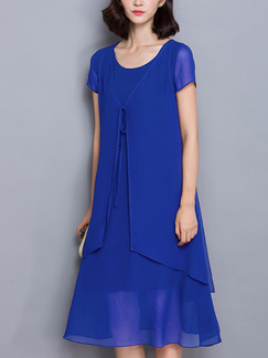 Blue Chiffon Full Skirt Loose A-Line Seem-Two Band Belt  Plus Size Knee Length Dress for Casual