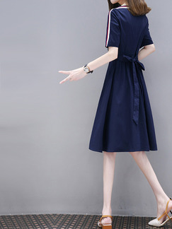 Blue Slim A-Line Plus Size Contrast Linking Ribbed Band Belt Knee Length Flare Dress for Casual Party Office