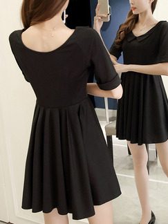 Black Peter Pan Collar Slim Pleated Plus Size Above Knee Dress for Casual Party