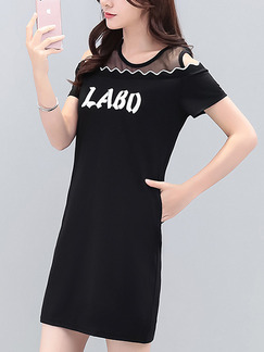 Black Mesh Plus Size Off-Shoulder Located Printing Linking Above Knee Dress for Casual Party Office